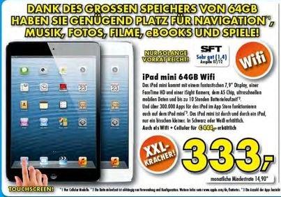 [Lokal] iPad Mini 64GB Wifi Schwarz & Weiß für 333€/iPad Mini 64GB Wifi + Cellular 4G für 444€ @ Euronics XXL Südwestdeutschland