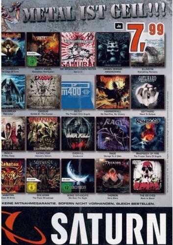 Aktuelle Metal-CDs für 7,99 EUR bei Saturn - deutschlandweit