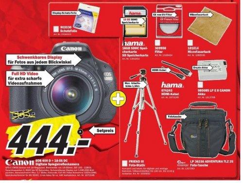[lokal] MediaMarkt Porta Westfalica - Canon EOS 600D + 18-55mm DC + Haufen Zubehör