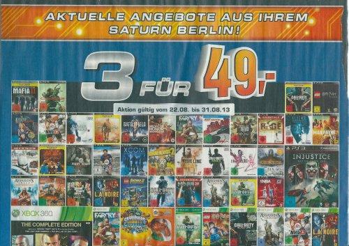 [Lokal Berlin] 3 für 49 EUR in allen Berliner Saturnmärkten -> sehr viele Spiele für die 9,99€-Gamestop-Aktion