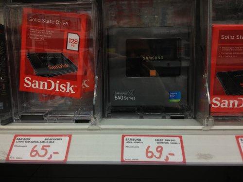 Samsung 840 SSD 120GB 69€ @MM Berlin / Sandisk 128GB 65€