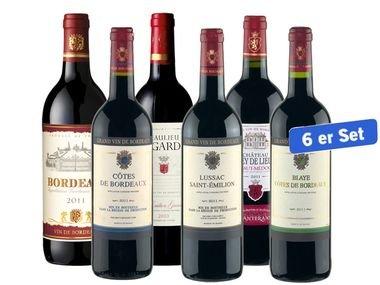 Bordeaux Weine - 6 Flaschen  (6x 0,75l) für 24,99€ zzgl. 4,95€ Versand @Lidl Online