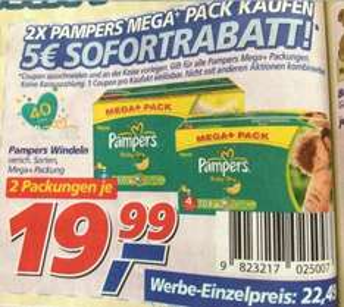 [Real - Filiale] 2x Pampers Megapack für je 19,99 Euro