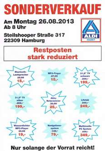[Lokal ALDI Hamburg/Steilshoop] Sonderverkauf, Ab Montag 26.08.2013 bis 50% Reduziert