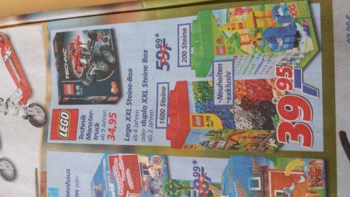 Bei Real,- bundesweit vom 26. - 31.08.: Lego XXL 1.600 Steine-Box (10664) oder Duplo XXL 200 Steine-Box (10557) mit ca. 33% Ersparnis