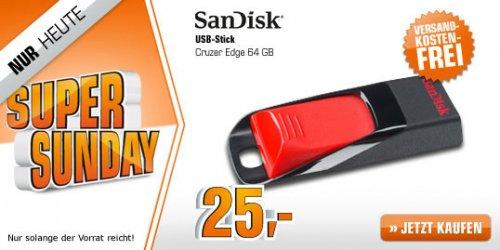 [Saturn Super Sunday] SAN DISK Cruzer Edge 64GB USB-Stick Rot für 25€