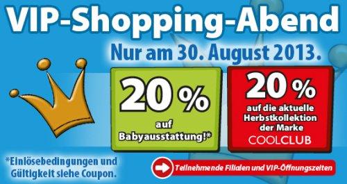30.08. - Wieder VIP-Shopping bei Spiele Max - 20 % auf Babyausstattung* und die aktuelle Herbstkollektion der Marke COOLCLUB**