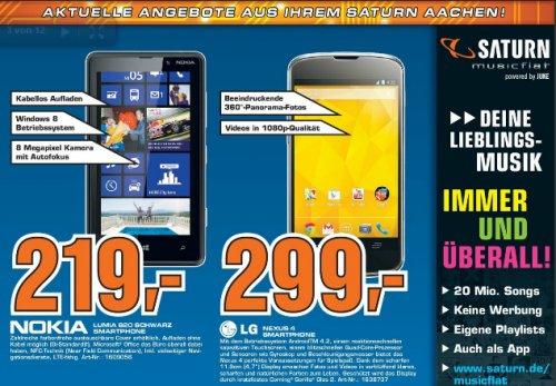 Saturn Aachen - Nexus 4 16GB 299 €