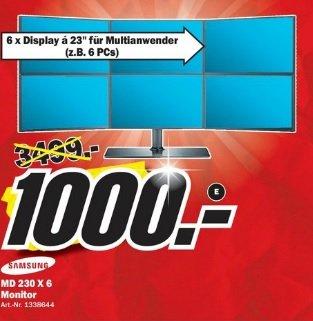 Samsung MD 230 x 6 ( 6 x Displays á 23 Zoll für Multianwender ) im Media Markt Mönchengladbach für 1000 Euro