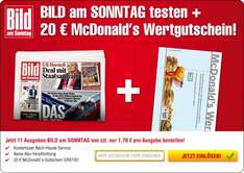 McDonalds 20 €-Gutschein für 13,70 € + 11 BamS
