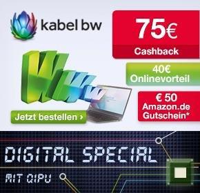 Kabel BW 50 Mbit/s 2play PLUS 50 mit 40€ Startguthaben, 50€ Amazon.de-Gutschein und 75€ Cashback