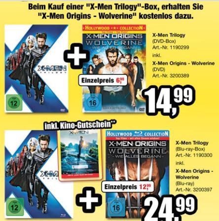 (Blu-Ray) X-Men Trilogie + Wolverine + Kinogutschein / ProMarkt