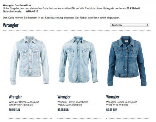 Jeansjacken von Wrangler für Damen und Herren sowie Herren Jeanshemd für je € 29,95 zzgl. 3,90 € Versand