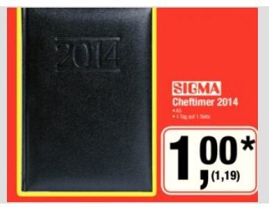 [metro] Sigma Cheftimer 2014 | A5-Format | für 1,19€ am 07.09.13