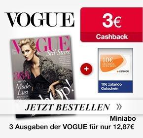 [Qipu] 3xVogue – Mini Abo mit 10€ Zalando Gutschein und 3€ Cashback von Qipu für 12,87€
