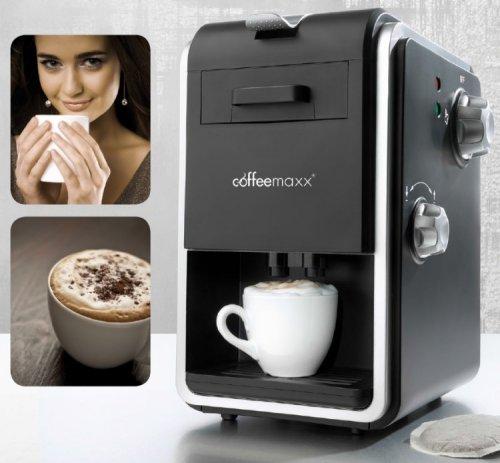 Coffee Maxx Kaffeemaschine 800W Cappuccino Padmaschine + Milchaufschäumer B-Ware