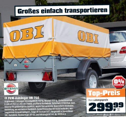 PKW Anhänger mit Plane und Spriegel für 299,99 Euro bei OBI Erfurt Süd