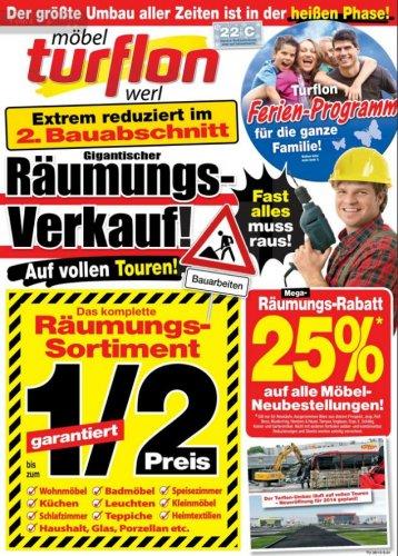 [Werl] Bis zu 50% auf das gesamte Räumungssortiment und 25% auf alle Möbel-Neubestellungen bei Möbel Turflon!
