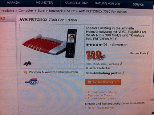 Fritz!Box 7360 + Fritz!Fon MT-F bei Saturn (auch Online)