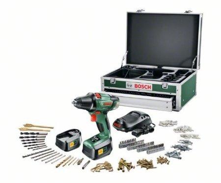 "Bosch PSR 18 LI-2 Akku-Bohrschrauber ""Expert"" + 241 tlg. Zubehör-Set + Toolbox + 2 Akkus und 1-Std.-Ladegerät (18 V, max. 46 Nm)"