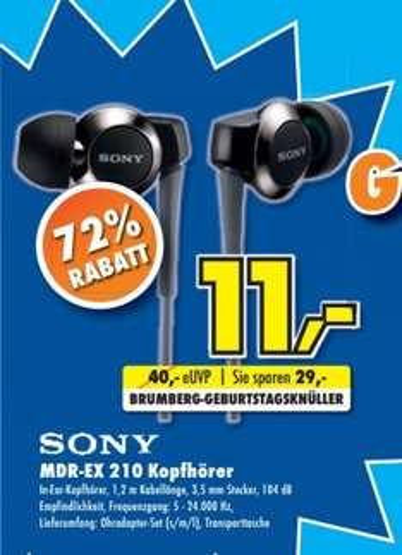 [Lokal @ Brumberg Kamen + Menden] Sony MDR-EX210 In-Ear-Kopfhörer