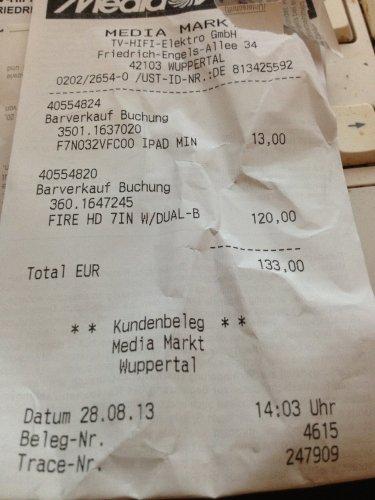 (LOKAL Wuppertal) Kindle Fire HD 16GB Media Markt für 130 €
