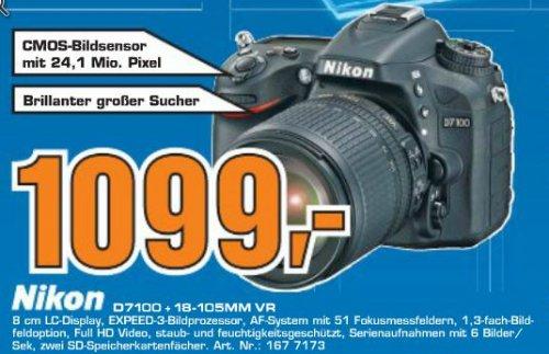 [Saturn] Nikon D7100 + 18-105mm Objektiv für 1099,- + 150€ Gutschein