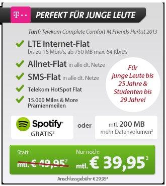 Telekom Allnet/SMS/LTE Flatrate mit Samsung S4 Mini und Samsung Galaxy Tablet ab 39,95€ mit Flug