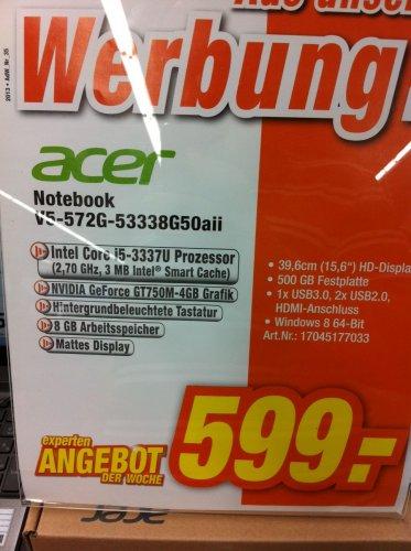 "ACER Aspire V5 Notebook 572G 3338G50aii, 15,6"" HD, matt (!), 8 GB DDR3, i5-3337U, GT 750M (!) für € 599,- (bzw. bei Versand € 603,99,-)"