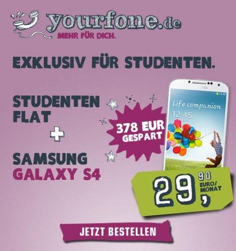 Samsung Galaxy S4 inkl. Allnet-SMS & Allnet-Telefon-Flat & 500MB Internet Flat für 29,99€ im Monat - NUR FÜR STUDENTEN!
