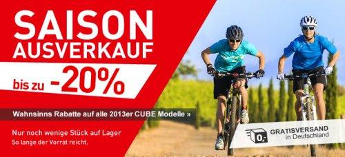 Cube Saison Abverkauf 20% auf alle Cube Modelle 2013, versandkostenfrei innerhalb Deutschland
