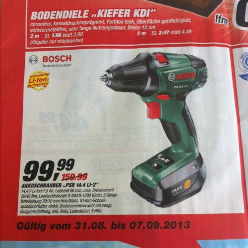 Toom Baumarkt Bosch PSR 14,4 LI-2 Akku-Bohrschraube  + Akku und Ladegerät + Koffer (14,4 V, max. 40 Nm)