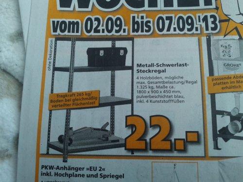 [Globus Baumarkt] Metall Schwerlast Steckregal (265 kg pro Boden)