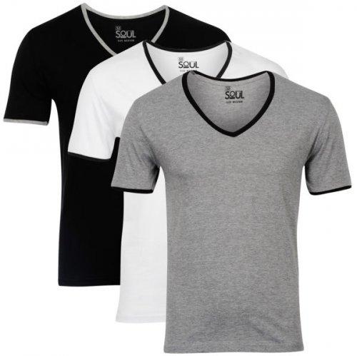 3  T-shirts black/white/greyv-ausschnitt   für  €11.15