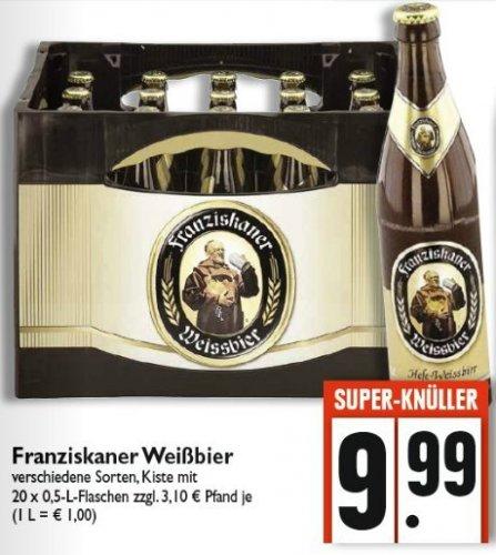 [Edeka Südwest/lokal] Franziskaner Weißbier Kasten 20x0,5 l für 9,99 €
