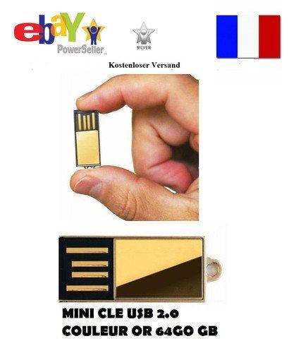 CLE USB 2.0 FLASH DRIVE MINI OR USB 64 GB G GO 64GB 64GO Kostenloser Versand