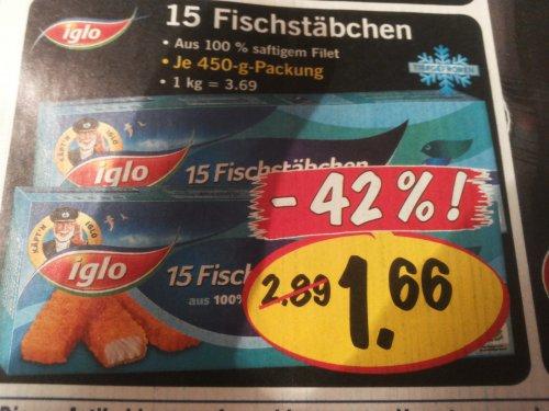 15 iglo fischstäbchen für 1.66 euro offline lidl