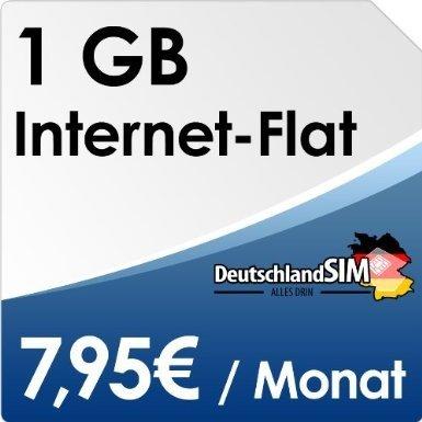 Datentarif: 1GB Flatrate für 7,95€ mtl. - Monatlich kündbar - Deutschlandsim