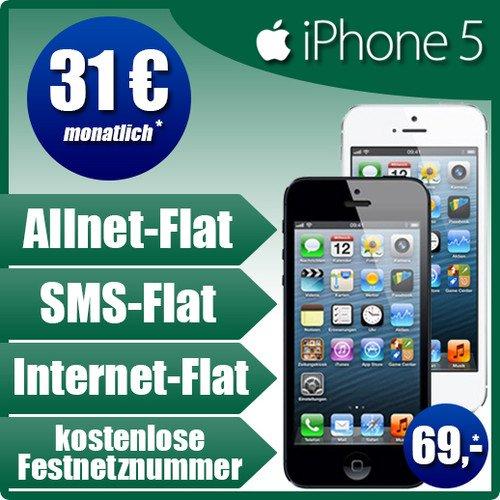 Apple iPhone 5 16GB einmalig 69€ im BASE all-in Tarif für 31€ monatlich