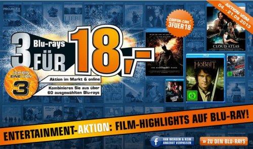 Blu-ray: 3 für 18€ @ SATURN