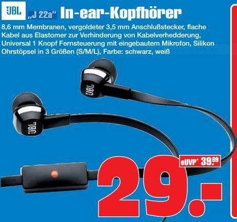 [lokal: GE] JBL J22a In-Ear-Kopfhörer / Headset statt 49€ nur 29€