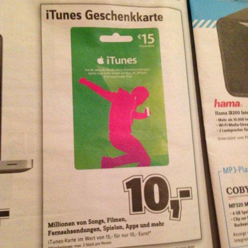 iTunes Geschenkkarten 10€ statt 15€ [*Lokal* Conrad Hamburg Wandsbek/Altona]