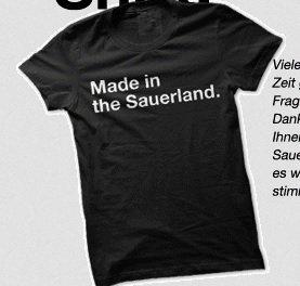 """Gratis T-Shirt """"Made in the Sauerland"""" Gr. S-XXL"""