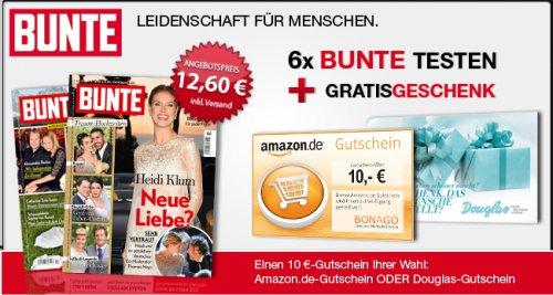 6 x Bunte + 10€ Amazon oder Douglas Gutschein für 12,60€