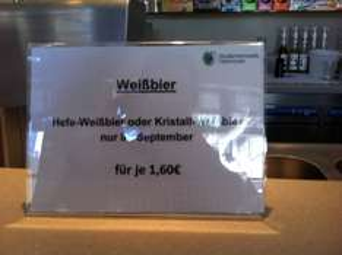 Lokal Hannover. Weizen im Uni-Café für geschmeidige 1,60 €