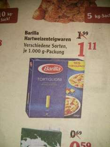 [Globus K`Lautern] Barilla Nudeln 1kg verschiedene Sorten 1,11€