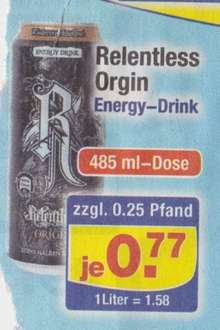 Centershop: Relentless Orgin Energy Drink 485 ml Dose für 0,77 €