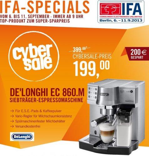 Siebträgermaschine + Milch - DeLonghi EC 860.M Espressomaschine 199,- statt 259,- Cyberport