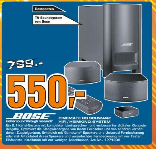 Offline Saturn Celle: BOSE Cinemate GS 2.1 schwarz Lautsprecher-Set für 550 Euro