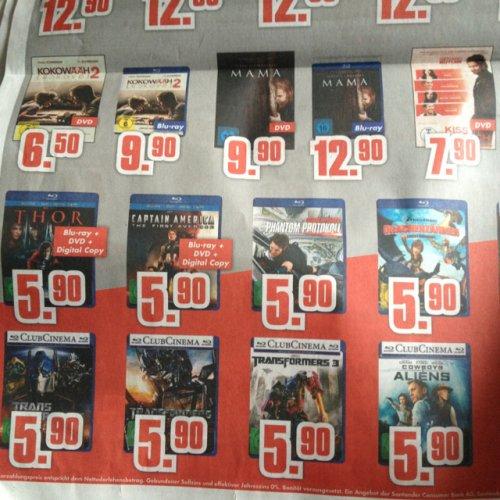 Lokal* Schossau Mönchengladbach diverse Blu-Rays 5,90€ (z.B. Transformers 1-3, Thor, Captain America u.a.)